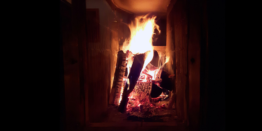 Feuerbild im Kachelofen